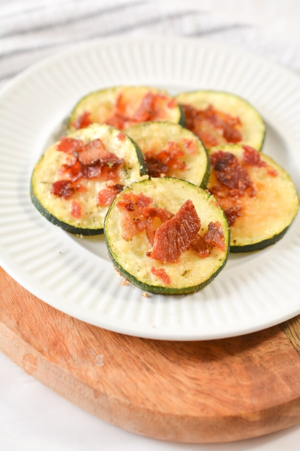 close up of Keto Loaded Parmesan Zucchini Slices