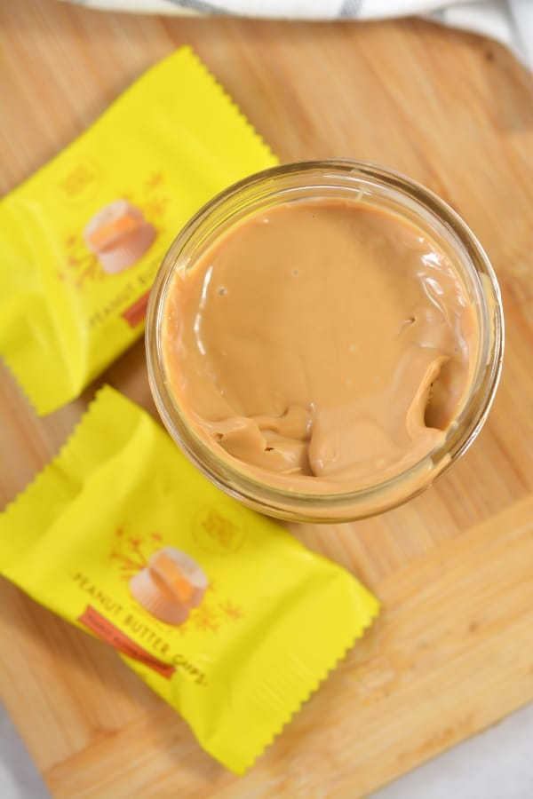 top view of peanut butter in a jar